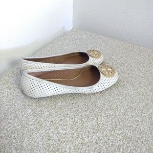 Tory Burch Reva Ivory Leather Flat Shoes